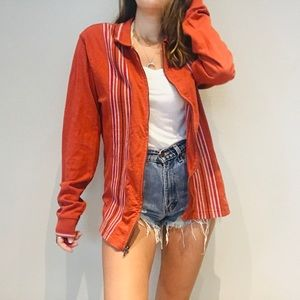 Urban Outfitters orange striped retro jacket top
